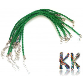 Braided necklace strap with carabiner - imitation leather - ∅ 13 cm