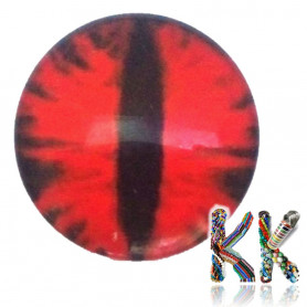 Glass cabochon with picture - eye - ∅ 25 x 7 mm