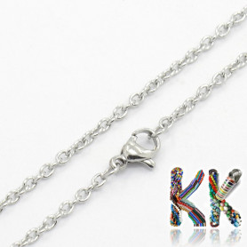 Stainless steel necklace chain with carabiner - length 49 cm