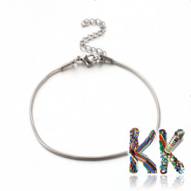Stainless steel wrist snake chain with carabiner - length 19 cm