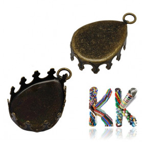 Drop bed with eyelet - old bronze - for cabochon 13 x 18 mm