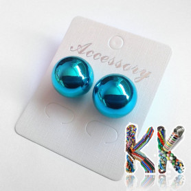 Plated plastic pearl stud earrings - ∅ 8 and 15.5 mm