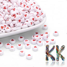 Beads with hearts - white lentils with hearts - ∅ 7 x 4 mm