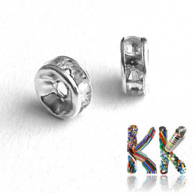 Chaton roundel - silver - ∅ 7 x 3 mm