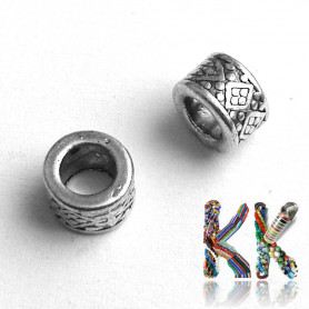 Zinc alloy bead with wide thread - ring - 8 x 8 x 5 mm