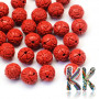 Round beads with Buddhist decoration made of imitation cinnabar with a diameter of 8 mm with a hole for a thread with a diameter of 2 mm. The beads were made from a mixture of red-colored resin and dust-crushed natural stone. Country of origin: China THE PRICE IS FOR 1 PCS.