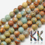 Tumbled round beads made of synthetic regalite (or variscite, or marine sedimented jasper) with a diameter of 8 mm with a hole for a thread with a diameter of 1 mm. Country of origin: China THE PRICE IS FOR 1 PCS.