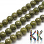 Tumbled round bead made of natural mineral green granite (granite) with a diameter of 8 mm with a hole for a thread with a diameter of 1 mm. The beads are completely natural without any dye. Country of origin: China THE PRICE IS FOR 1 PCS.