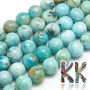 """Tumbled round beads made of natural mineral hemimorphite with a diameter of 6 mm with a hole for a thread with a diameter of 1 mm. The beads are colored using the """"filling glue"""" or """"glue feed"""" technique. Country of origin: China THE PRICE IS FOR 1 PCS."""
