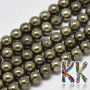 Tumbled round beadsmadeof pyrite mineral with a diameter of 4 mm and a hole for a thread with a diameter of 0.5 mm. The beads are absolutely natural without any dye. The manufacturer declares better processing of beads in the quality of the A cut. Country of origin: China THE PRICE IS FOR 1 PCS.