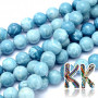 Tumbled round beads imitating one of the rarest minerals on the planet - larimar or dolphin stone. The beads have a diameter of 8 mm and a hole for a thread with a diameter of 1 mm. The beads are dyed in the appropriate color shade. Country of origin: Brazil THE PRICE IS FOR 1 PCS.