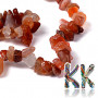 Tumbled beads in the shape of small fragments made of natural carnelian with dimensions of 5-8 mm and with a hole for a thread with a diameter of 0.5 mm. The beads are absolutely natural without any coloring.1 g contains about 5-6 pieces (which represents about 1.5 cm when stringing fragments on a string).THE PRICE IS FOR 1 g.