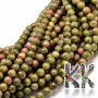 Tumbled round beads made of unakite mineral with a diameter of 6 mm and a hole for a thread with a diameter of 1 mm. The beads are absolutely natural without any dye. Country of origin: Africa (not specified by the manufacturer) THE PRICE IS FOR 1 PCS.