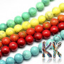 Tumbled round beads made of natural mineral howlite with a diameter of 8 mm and a hole for piercing with a diameter of 1 mm. The beads are dyed in shades in which howlite does not occur in nature. Country of origin: Turkey THE PRICE IS FOR 1 PCS.