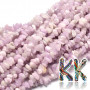 Tumbled beads in the shape of small fragments of natural kunzite (pink-violet varieties of spodumene) measuring 5-14 x 4-10 mm and with a hole for a thread with a diameter of 1 mm. The beads are absolutely natural without any coloring.1 g contains about 3 pieces (which represents about 1.5 cm when stringing fragments on a string).Country of origin: MadagascarTHE PRICE IS FOR 1 g.