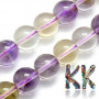 Tumbled round beads made of natural mineral ametrine with a diameter of 8 mm with a hole for a thread with a diameter of 1 mm. The beads are completely natural without any dye. Country of origin: Brazil THE PRICE IS FOR 1 PCS.