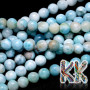 Tumbled round beads made from the rarest mineral on the planet - larimar or dolphin stone. The beads have a diameter of 8 mm and a hole for a thread with a diameter of 1 mm. The beads are absolutely natural, without any dye. Country of origin: Dominican Republic THE PRICE IS FOR 1 PCS.