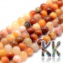 Tumbled round beads made of natural topaz with a diameter of 6 mm with a hole for a thread with a diameter of 1 mm. The beads are absolutely natural without any dye. Country of origin: Africa (not specified by the manufacturer) THE PRICE IS FOR 1 PCS.