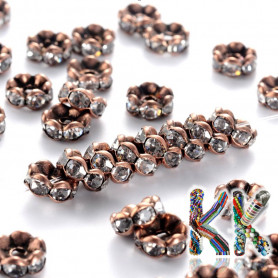 Brass chaton roundel - copper, corrugated - ∅ 8 x 3.8 mm - quality AAA