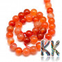 Tumbled round beads made of carnelian mineral with a diameter of 10 mm with a hole for a thread with a diameter of 1 mm. The beads are absolutely natural without any dye and their rich color was achieved by heating - annealing. Country of origin: Mexico THE PRICE IS FOR 1 PCS.