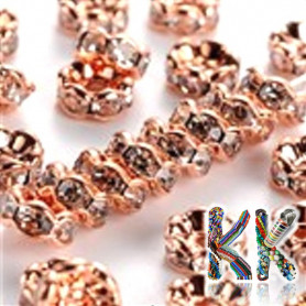 Brass chaton roundel - rose gold, wavy - ∅ 5 x 2.5 mm - quality AAA
