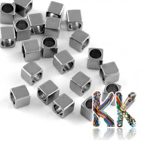 304 Stainless steel separating bead - cube - 3 x 3 x 3 mm