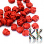 Elephant-shaped beads made of imitation cinnabar in brick red with dimensions of 12 x 14-15 x 8.5 mm with a hole for a thread with a diameter of 2 mm. The beads were made from a mixture of red-colored resin and dust-crushed natural stone. Country of origin: China THE PRICE IS FOR 1 PCS.