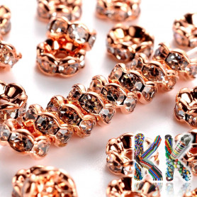 Brass chaton roundel - rose gold, wavy - ∅ 6 x 3 mm - quality AAA
