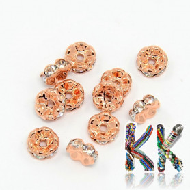 Brass chaton roundel - rose gold, wavy - ∅ 8 x 3.8 mm - quality AAA