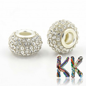 Bead with wide thread - roundel with rhinestones - 8 x ∅ 12 mm - quality