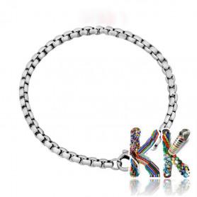 316 Stainless steel Venetian wrist chain with carabiner - length 18 cm