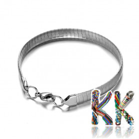 304 flat stainless steel wrist chain with carabiner - length 19 cm
