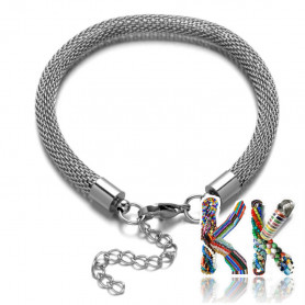 304 Mesh stainless steel wrist chain with carabiner - length 22 cm
