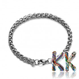 304 Intertwined stainless steel wrist chain with carabiner - length 21 cm