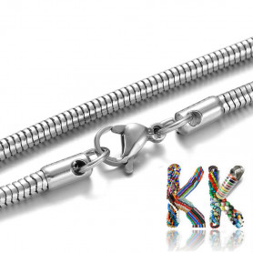 304 Snake stainless steel necklace chain with carabiner - length 60 cm