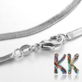 304 Flat stainless steel necklace chain with carabiner - length 45 cm