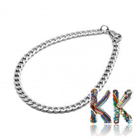 304 Stainless steel wrist chain with carabiner with large eyes - length 21 cm