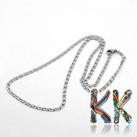 316 Men's stainless steel necklace chain with carabiner - length 50 cm