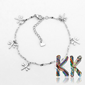 316 Stainless steel wrist chain with carabiner with dragonflies - length 21.5 cm