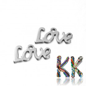 Pendant made of 304 stainless steel - inscription LOVE - 12 x 6 x 1 mm