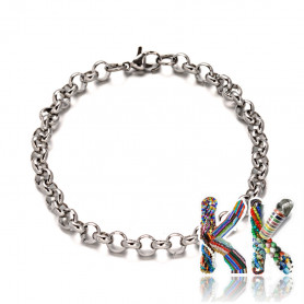 304 Stainless steel wrist chain with carabiner with large eyes - length 20 cm