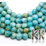 """Tumbled round beads made of natural mineral hemimorphite with a diameter of 4 mm with a hole for a thread with a diameter of 1 mm. The beads are dyed using the """"filling glue"""" or """"glue feed"""" technique. Country of origin: China THE PRICE IS FOR 1 PCS."""