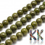 Tumbled round beads made of natural mineral green granite (granite) with a diameter of 6 mm with a hole for a thread with a diameter of 1 mm. The beads are completely natural without any dye. Country of origin: China THE PRICE IS FOR 1 PCS.