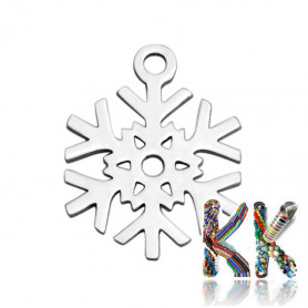 Pendant made of 304 stainless steel - snowflake - 15.4 x 11.7 x 1 mm