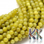 Tumbled round beads made of peridot mineral with a diameter of 6 mm with a hole for a thread with a diameter of 1 mm. The beads are completely natural without any dye. Country of origin: China THE PRICE IS FOR 1 PCS.