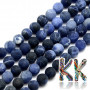 Cut and unpolished (frosted) round beads made of sodalite mineral with a diameter of 8 mm with a hole for a thread with a diameter of 1 mm. The beads are completely natural without any dye. Please note that all frosted minerals are polished by wiping on the fabrics to the full gloss. Country of origin: Brazil THE PRICE IS FOR 1 PCS.