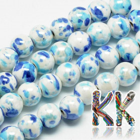 Porcelain beads - painted, glazed - ∅ 9 mm - beads