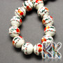 Handmade porcelainpainted beads with a heart decor and a glazed surface ina roundshapewith a diameter of 8 mm and a thread with a width of 2 mm. The beads are made of genuine handmade Chinese porcelain, so each bead is original. THE PRICE IS FOR 1 PCS.