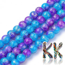 Synthetic crystal - ∅ 8 mm - two-colored silver-coated balls