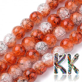 Synthetic cracked crystal - ∅ 8 mm - two-colored black-coated beads